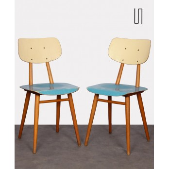 Pair of painted wooden chairs, edited by Ton, 1960s