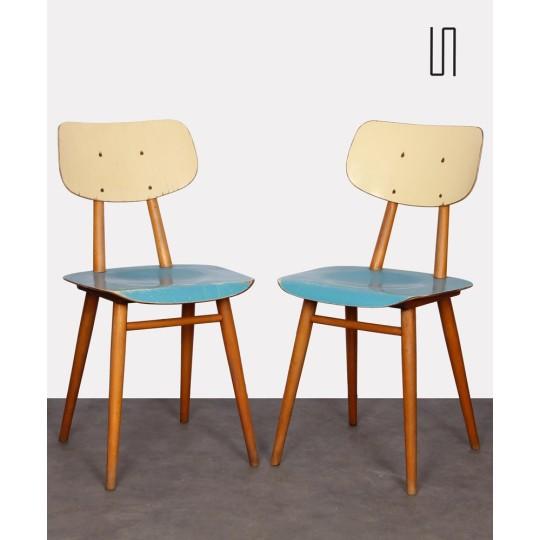 Paire de chaises en bois peint, éditées par Ton, 1960