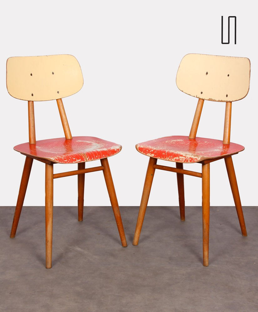 Pair of red chairs for Ton, 1960s