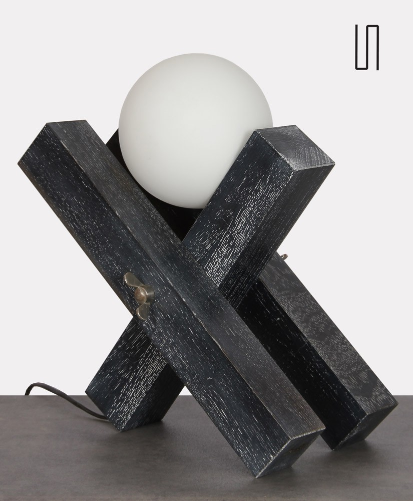 Wooden lamp by François Arnal, limited edition, 1992