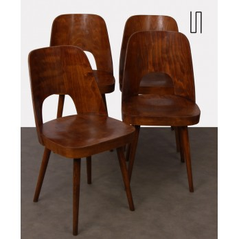 Suite of 4 wooden chairs by Oswald Haerdtl for Ton, 1960s