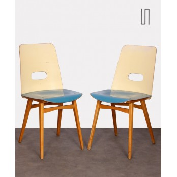 Pair of blue chairs for Czech publisher Ton, 1960s