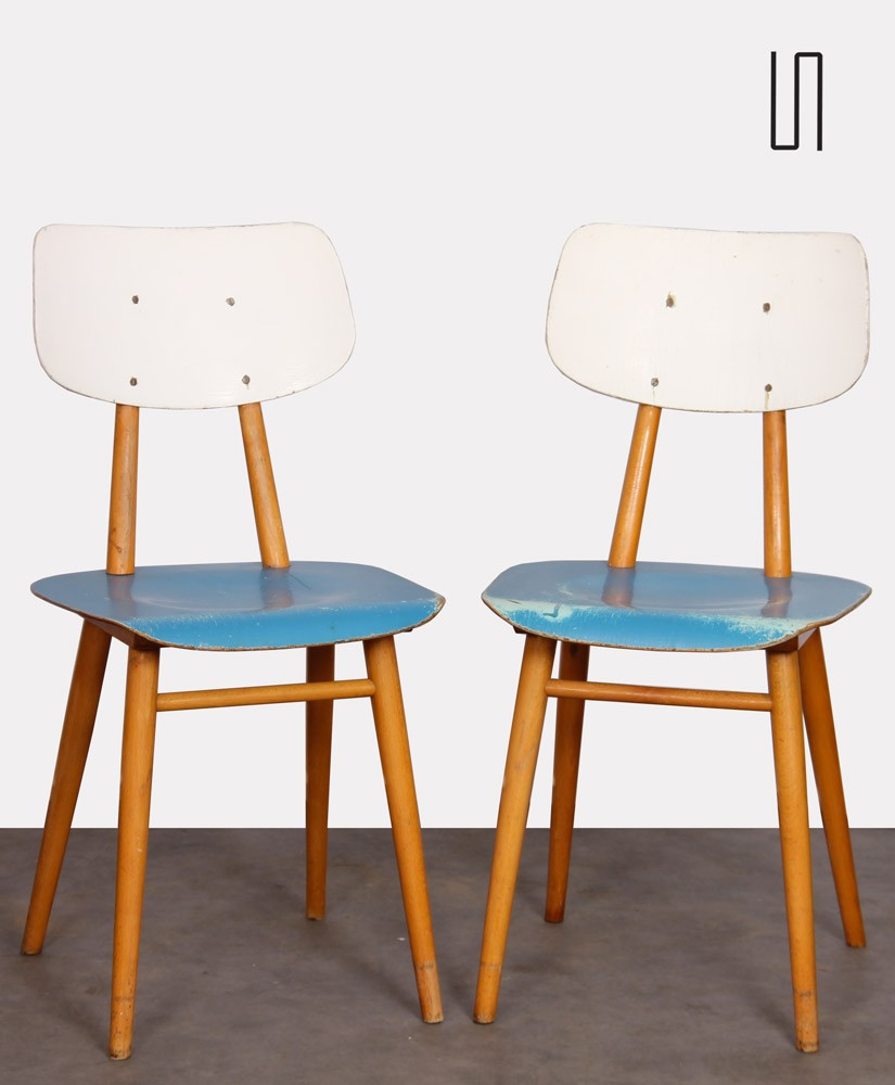 Pair of vintage wooden chairs, 1960s