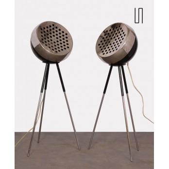 Paire de lampadaires vintage en métal, 1960