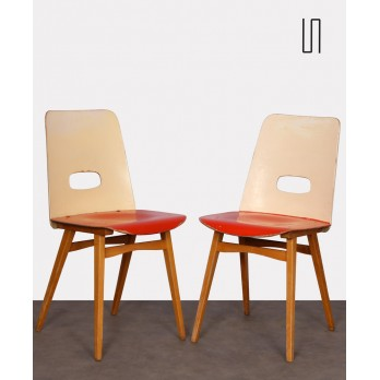 Pair of red chairs for Czech publisher Ton, 1960s