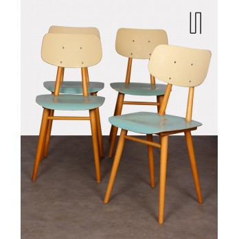Suite of 4 blue chairs produced by Ton, 1960s