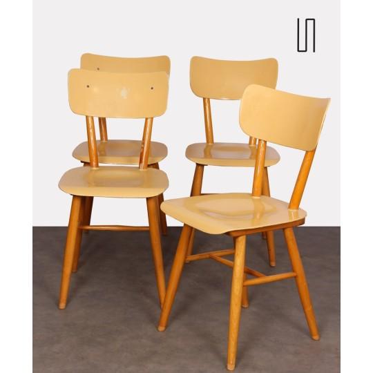 Ensemble de 4 chaises produites par Ton, 1960