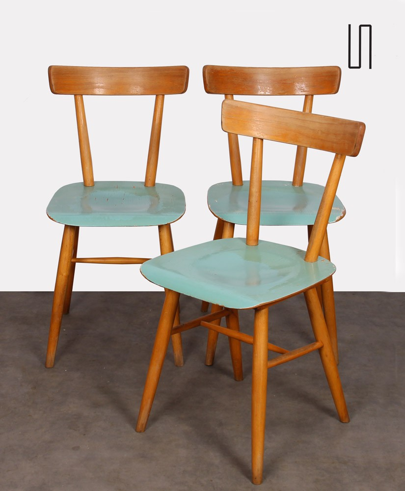Suite of three blue chairs edited by Ton, 1960s