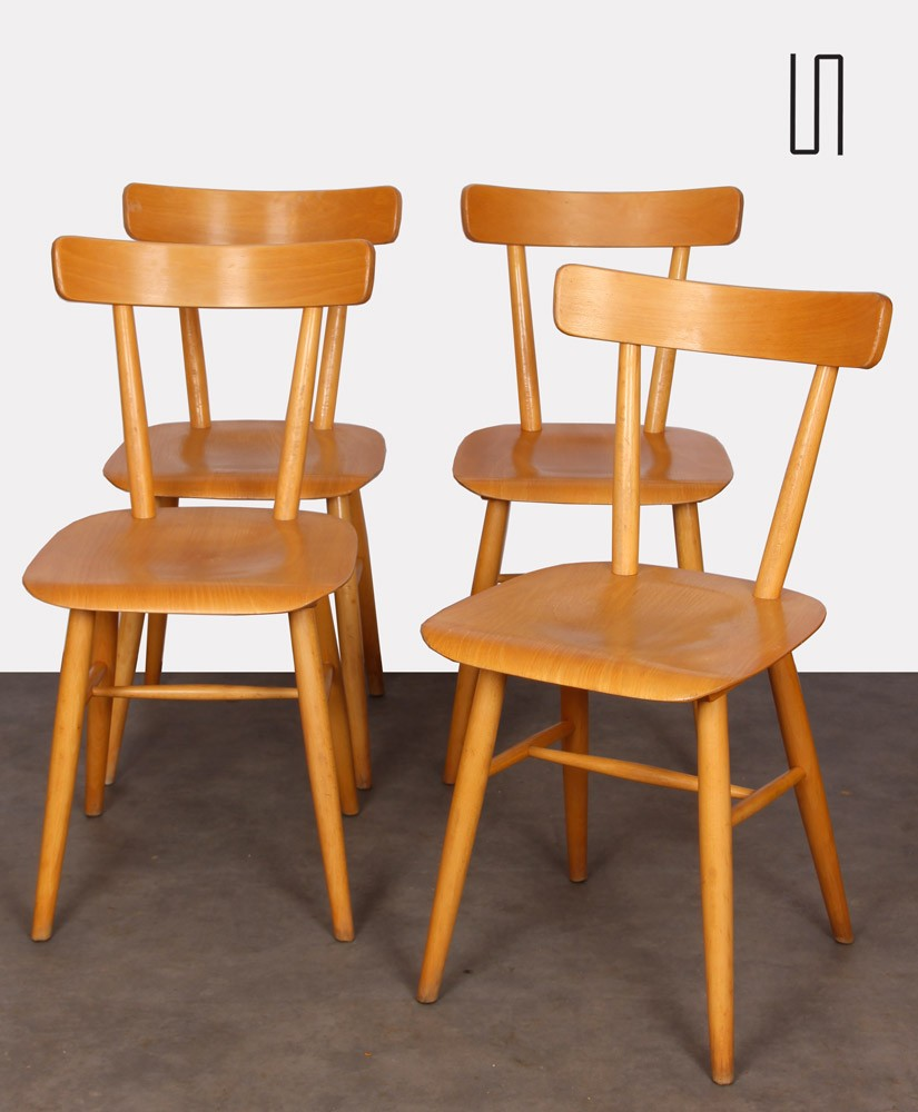 Set of four wooden chairs edited by Ton, 1960s