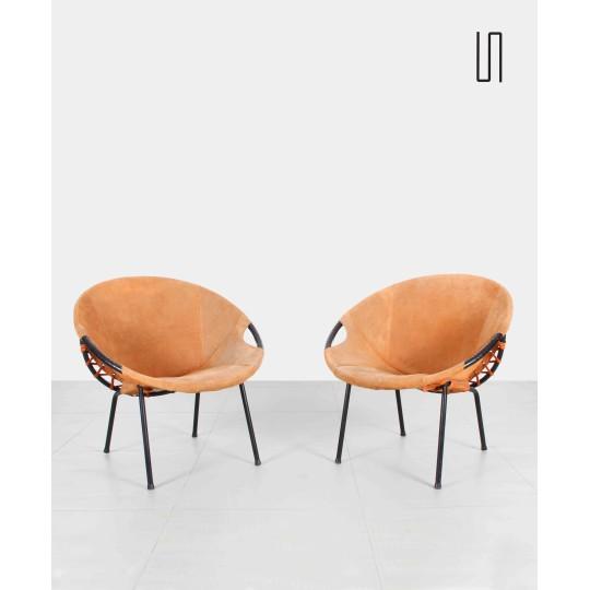 Paire de fauteuils Lusch Erzeugnis, design soviétique des pays d'Europe de l'Est