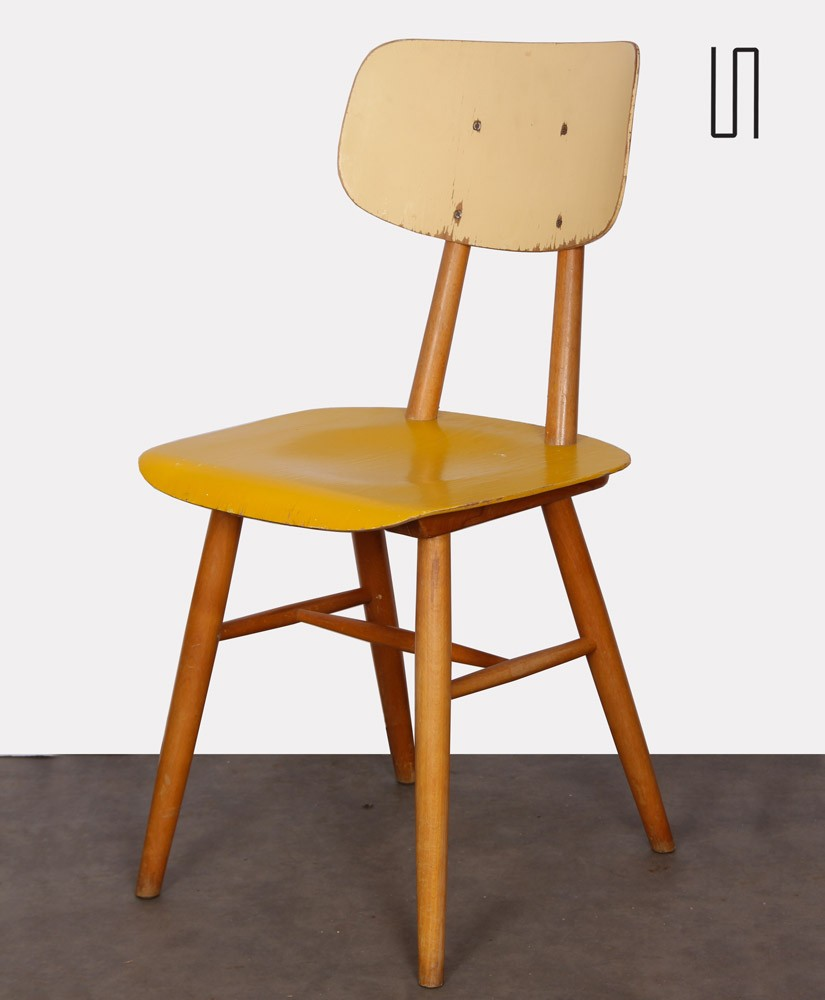 Yellow chair for the manufacturer Ton, 1960s