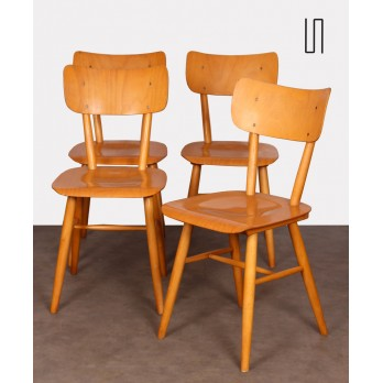 Set of 4 vintage wooden chairs edited by Ton, 1960s