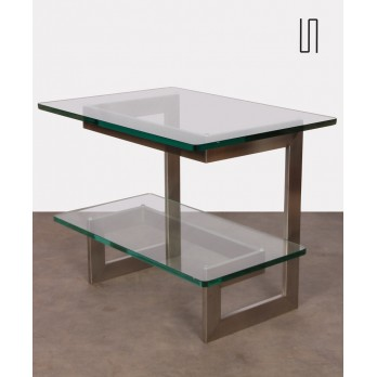 Vintage metal and glass console by Paul Legeard, 1970s