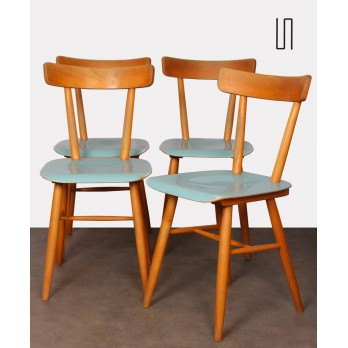 Set of four vintage wooden chairs edited by Ton, 1960s