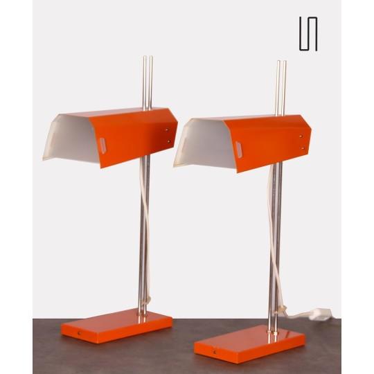 Pair of vintage metal lamps designed by Josef Hurka, 1970s
