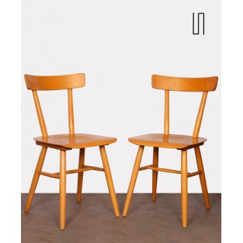 Pair of vintage wooden chairs by Ton, 1960s