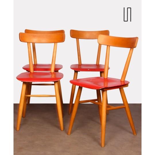 Ensemble de quatre chaises rouges éditées par Ton, 1960