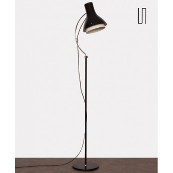 Vintage black metal floor lamp by Josef Hurka for Napako, 1960s