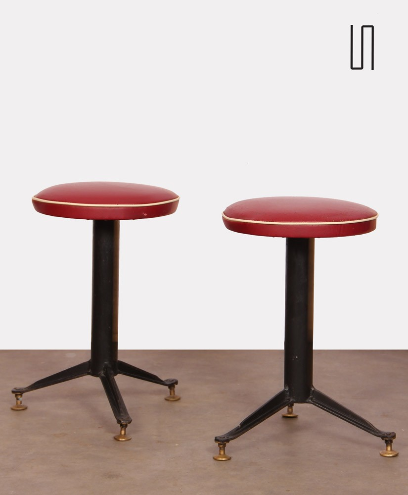 Pair of craftsman's vintage stools, 1960s