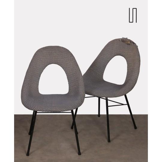 Suite de 3 chaises vintage, fabrication tchèque, 1960