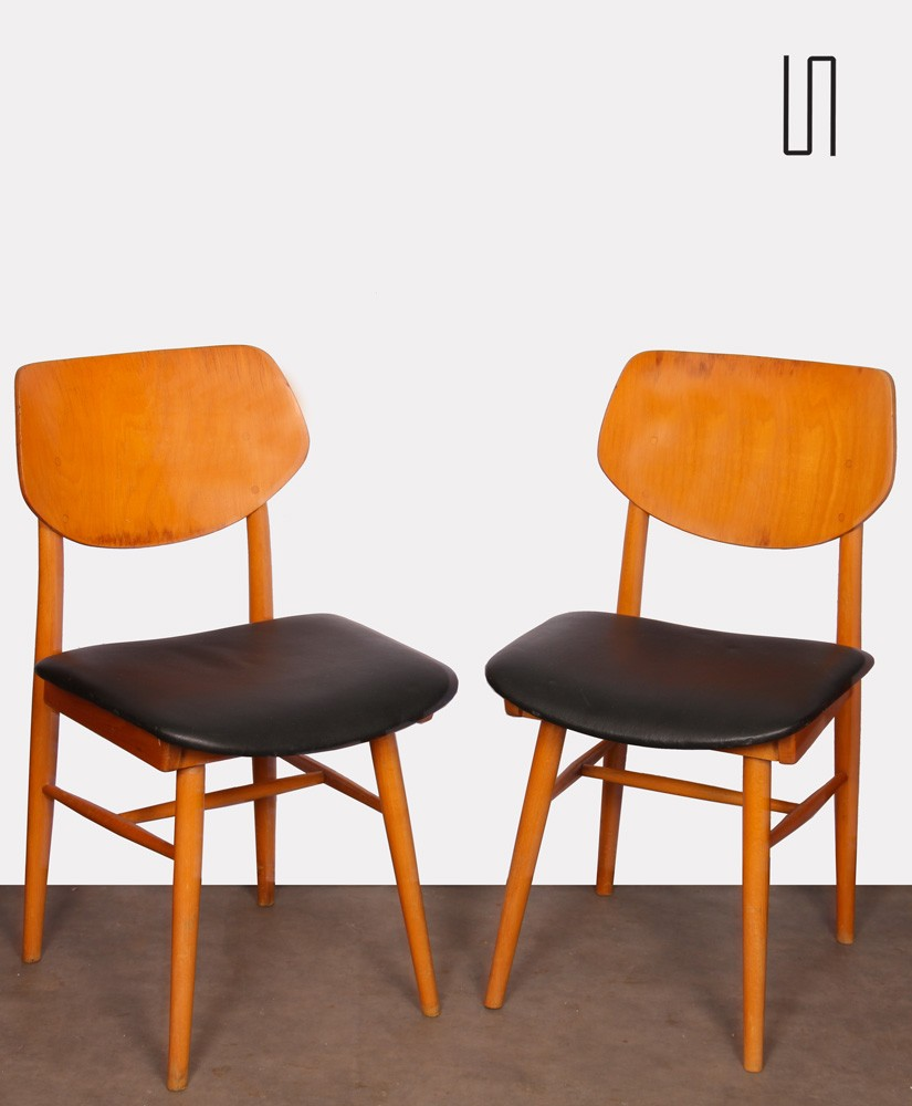 Pair of vintage chairs in wood and skai, 1960s