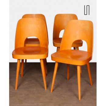 Set of 4 wooden chairs by Oswald Haerdtl for Ton, 1960s