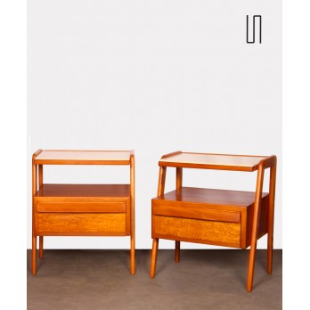 Pair of wooden and opaline night tables, edited by Jitona, 1960s