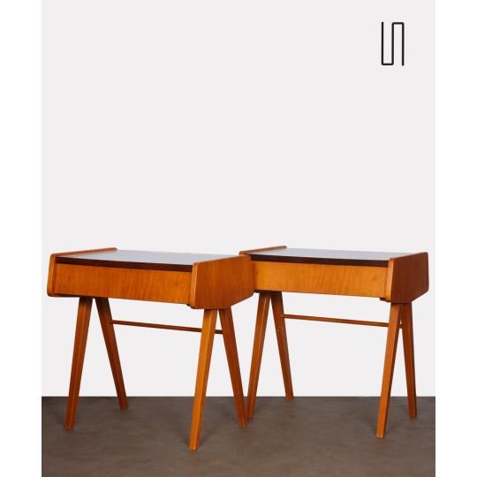 Paire de tables de nuit vintage, bois et formica, 1970