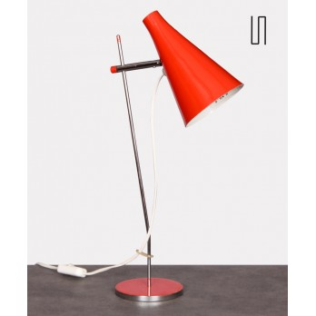 Red metal table lamp by Josef Hurka for Lidokov, 1960s