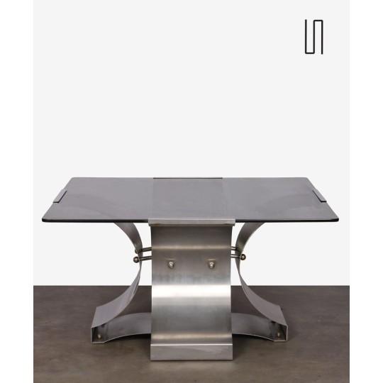Table basse en acier brossé et verre fumé par François Monnet, 1970