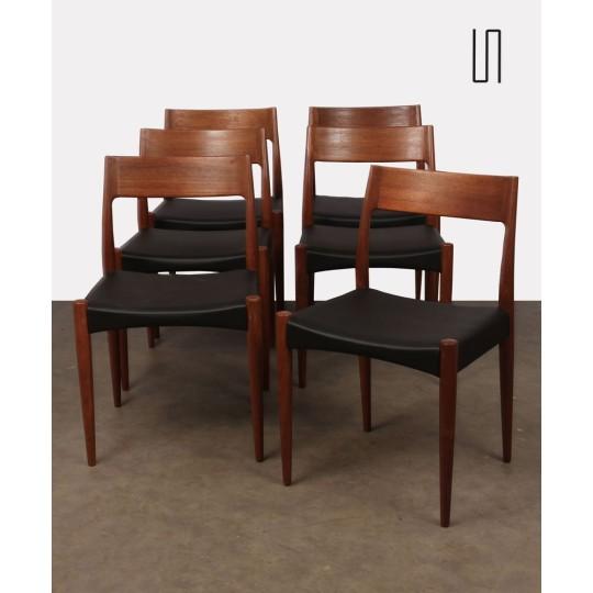 Suite de 6 chaises scandinaves datant des années 1960