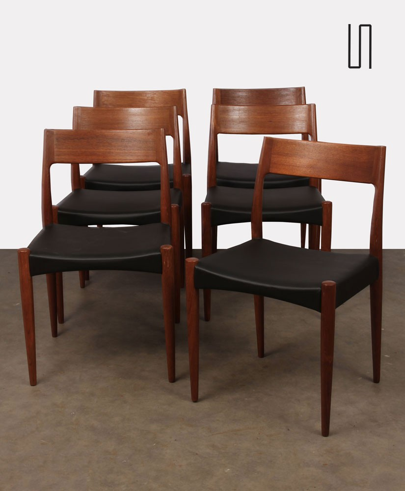 Suite of 6 Scandinavian chairs dating from the 1960s