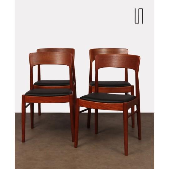 Suite de 4 chaises par Henning Kjaernulf pour K/S mobelfabrik, 1960