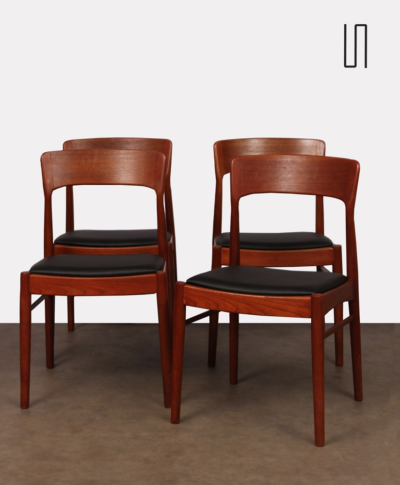Suite of 4 chairs by Henning Kjaernulf for K/S mobelfabrik, 1960s