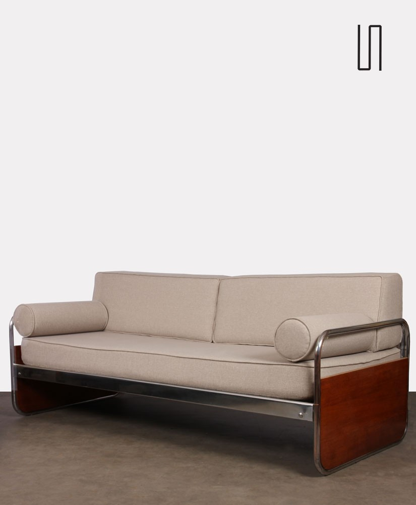 Vintage wooden and chromed metal sofa, czech design, 1940s