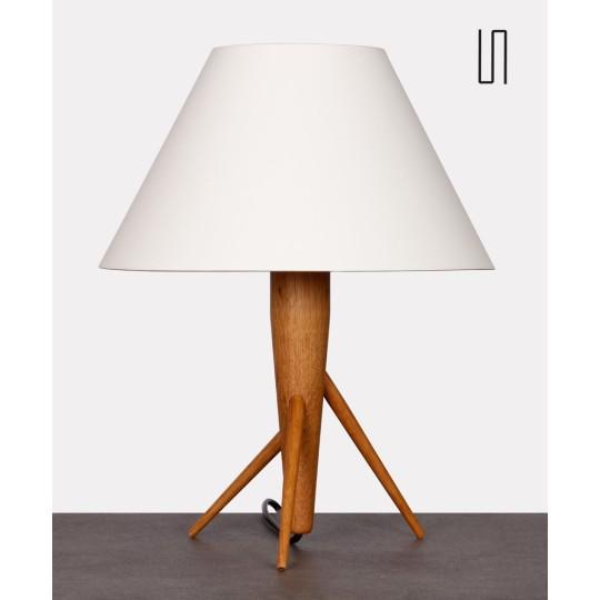 Lampe tripode en bois, fabrication tchèque, 1960
