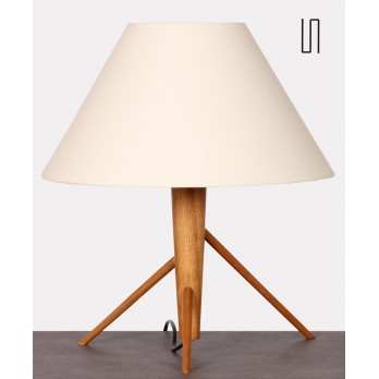 Wooden table lamp, Czech design from the 1960s