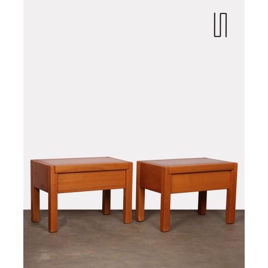 Pair of elm bedside tables for Maison Regain, 1970s
