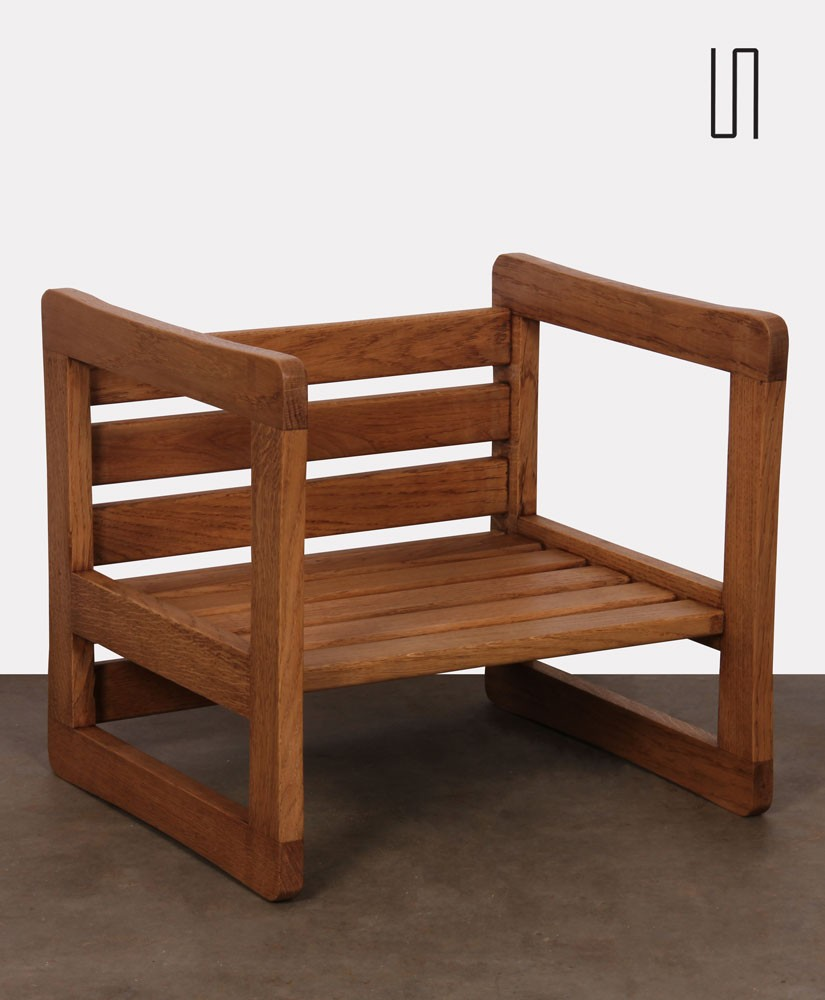 3 position stool with 5 slats attributed to Marcel Gascoin, circa 1950
