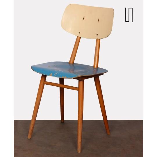 Chaise vintage bleue en bois, 1960
