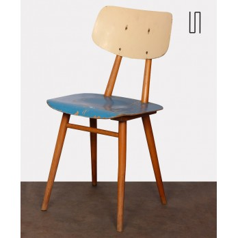 Vintage blue wooden chair, 1960