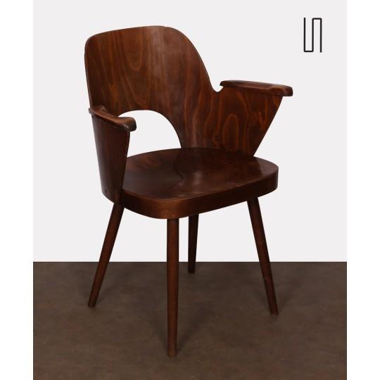 Fauteuil vintage en bois par Lubomir Hofmann pour Ton, 1960