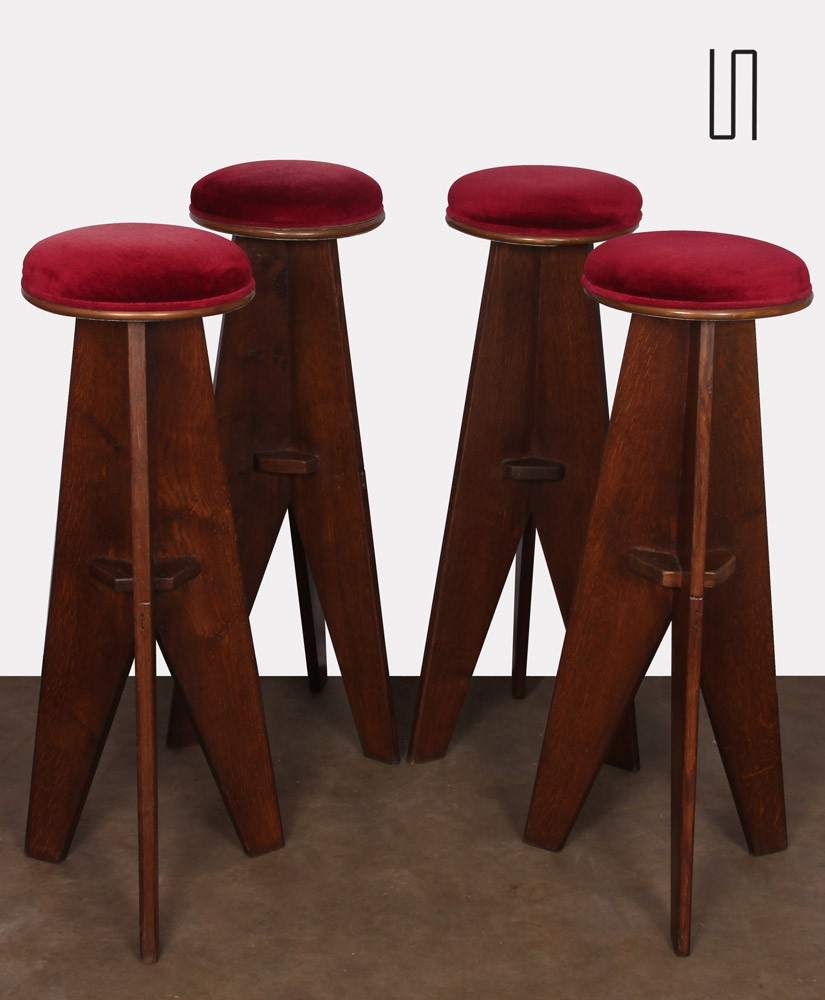 Suite of 4 high wooden stools, Reconstruction design, 1950s