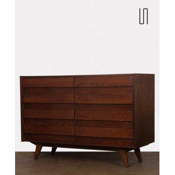 Dark oak chest of drawers by Jiri Jiroutek, model U-453, 1960s