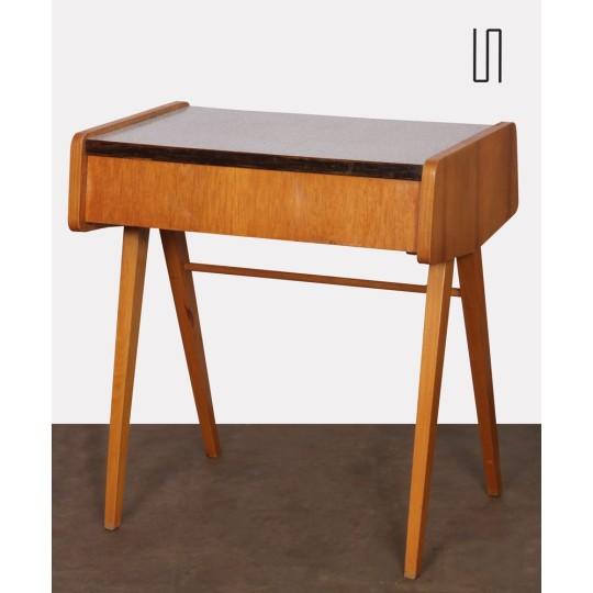 Table de nuit vintage, en bois et formica, fabrication tchèque, 1970