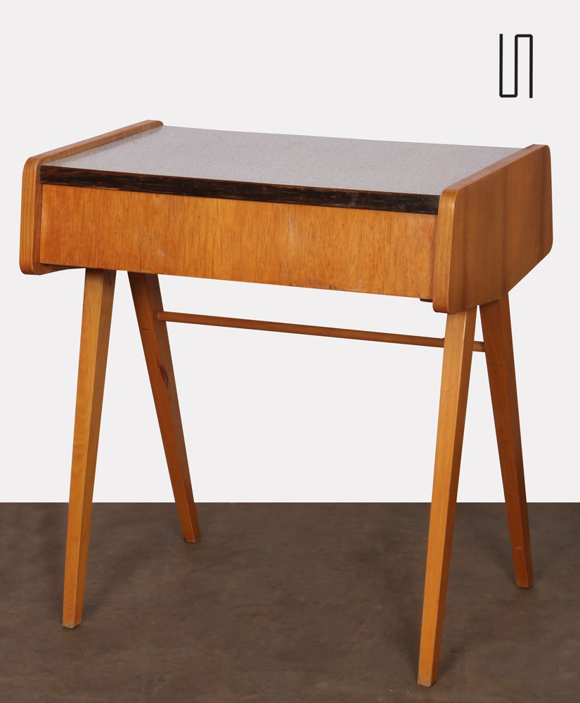 Vintage bedside table, wood and formica, made in Czech Republic, 1970s