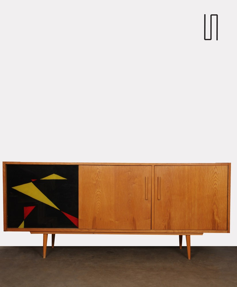 Vintage wood and glass sideboard from the 1960s, Czech design