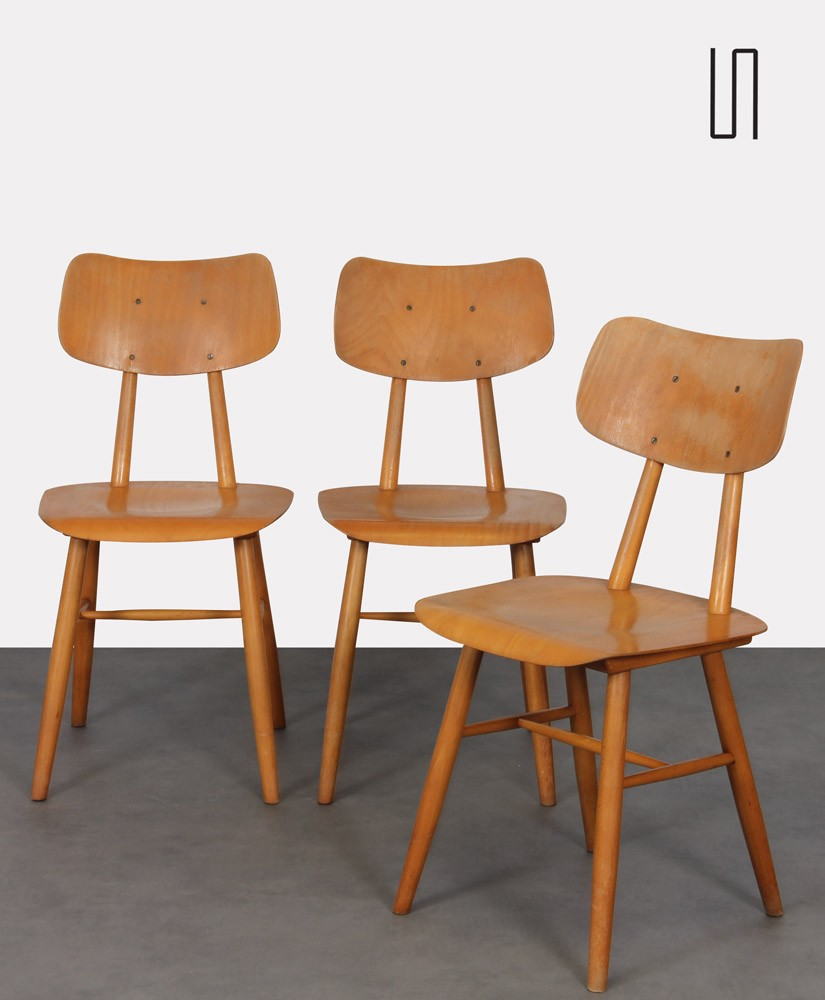 Suite of 3 vintage wooden chairs produced by Ton, 1960s