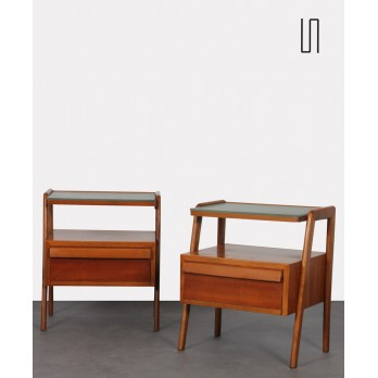 Pair of night tables in wood and glass, produced by Jitona, 1960s