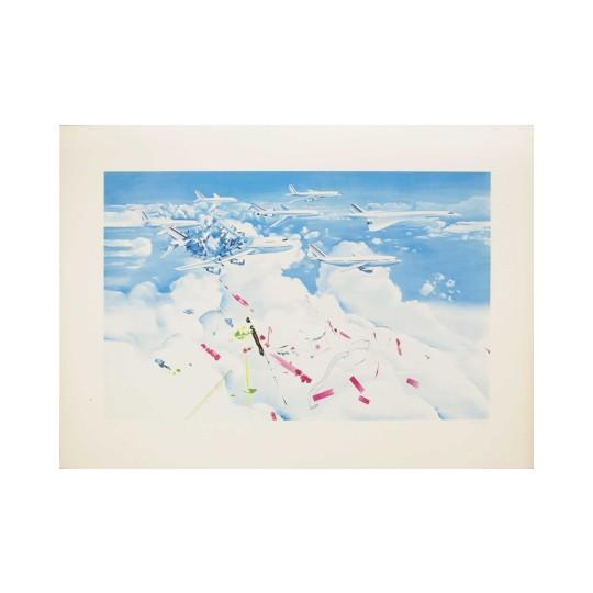 Sérigraphie - Jacques Monory - Accident d'avion